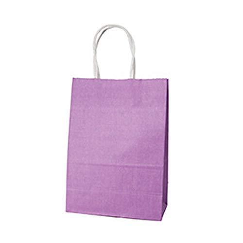 JINSUO NWXZU Tratar de Boda Portador de Papel Bolso de Eco 10 Partido de los Colores Kraft Bolso con la manija Regalo Bolsa Cajas Pie Caja de Bolsas Eco Friendly Kraft (Color : Light Purple)