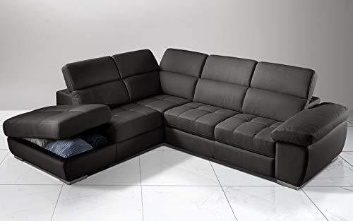 Dafnedesign.Com - Sofá cama esquinero de 3 plazas con chaise longue a la izquierda Piel sintética de elefante. 285 x 245 x 97 cm.