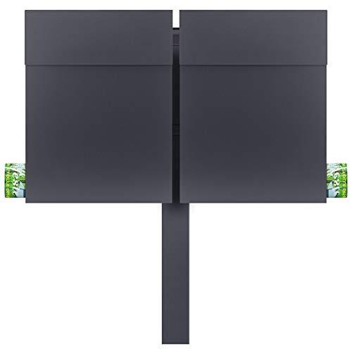 MOCAVI SBox 500 Doppel-Briefkasten freistehend mit Zeitungsfach anthrazit 2er-Standbriefkasten mit Pfosten wetterfest A4