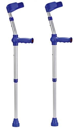 Kinder-Unterarmgehstützen Krücken Gehhilfen 1 Paar Leichtmetall mit Reflektoren, Farbe: BLAU