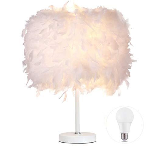 1 paquete de lámpara de mesa de plumas Lámpara de mesilla de noche Lámpara de mesa de pie Base blanca con bombilla de 3 W para sala de estar, dormitorio, decoración del hogar, L