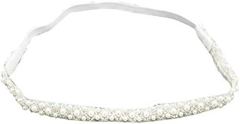 Baptism Headband for Baby Infant Toddler Girls White Christening Headband 3 12 Months product image