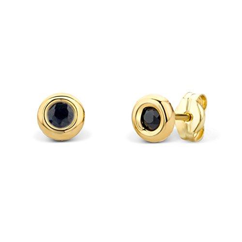 Miore Ohrringe Damen Gelbgold 14 Karat / 585 Gold Ohrstecker Solitär Saphir