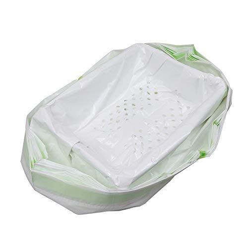 Delaspe - Juego de 7 bolsas de arena para gatos con cordón y agujeros de filtro para caja de arena