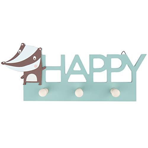 Bieco Garderobe Kinder Happy | Kindergarderobe Holz | Garderoben Haken | Wandgarderobe Holz | Kleiderhaken Kinder | Garderobenleiste Kinder 30 cm | 3 Garderoben Haken | Garderobe Holz Wandhaken