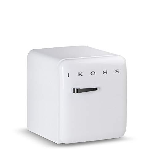 IKOHS Retro Fridge - Frigorífico con diseño, Control de Temperatura Ajustable, Estantes Intercambiables, Estética Vintage de los años 50, Clase Energética A+ (Blanco, 50 cm)