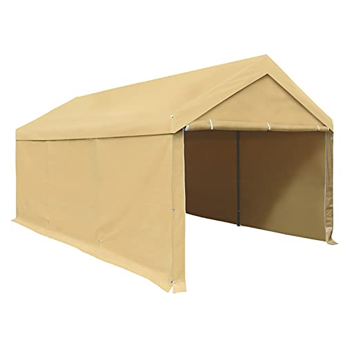 Carport, Carport Tent, 10 x 20 ft Heavy Duty, Removable Sidewalls and Doors, Car Canopy for Boat&Market Stall, Auto, 180g PE Tarp, Single Package, Beige