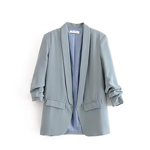 RVXZV SildFy Frühling Sommer Dünne Jacke Frauen Anzüge Einfarbig Lange Blazer Büro Damen Strickjacke Mantel Dreiviertel Ärmel L Himmelblau