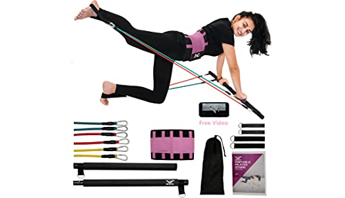 IM UNLIMITED Pilates Bar Kit, Resistance Bands, Personalized Video, Reformer, Home Gym Equipment, Exercise Squat, Portable, Fitness Stick, Yoga Toning Bar for Abs Arms & Legs, Workout Video