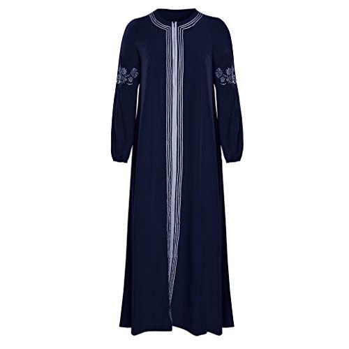 Lazzboy Muslimisches Kleider Frauen Kaftan Arab Jilbab Abaya Spitze Nähen Maxikleid Damen Langarm Abendkleider Muslim Hochzeit Kleidung Saudi-arabien Rockabilly(Blau,3XL)