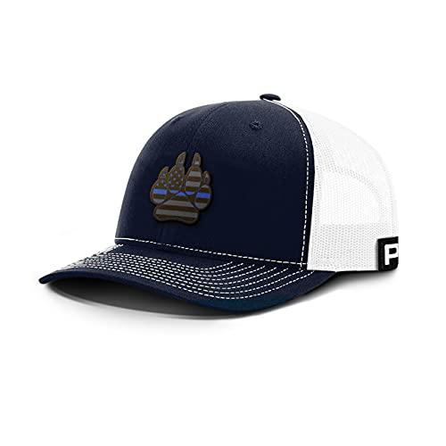 Printed Kicks Thin Blue Line K9 Paw Leather Back Mesh Hat K-9 Police Dog Unit Baseball Cap (Navy Front/White Mesh)