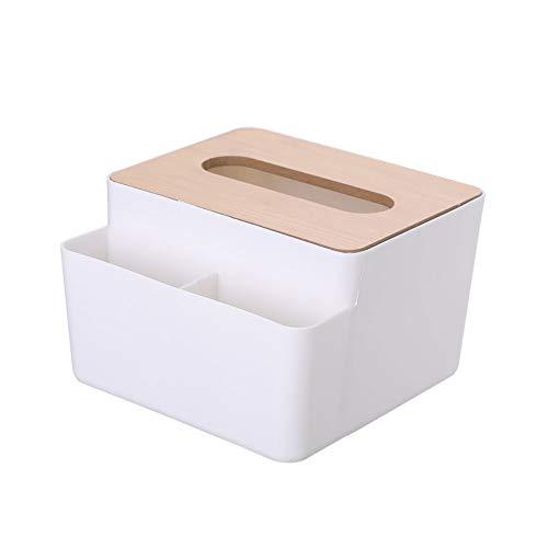 Dispensador de toallitas caja de bambú caja del tejido facial sostenedor de la cubierta del almacenamiento de papel de baño Mesa de comedor Dormitorio del organizador del almacenaje (Rectángulo)