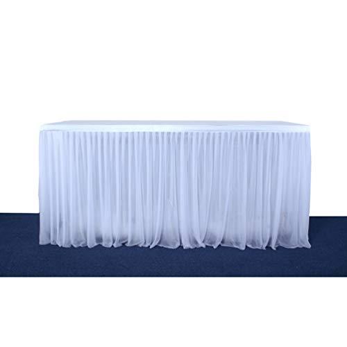 Fashionbeautybuy - Tovaglia Elastica a Doppio Strato, Colore: Bianco, per Feste, Matrimoni, Decorazione da Tavolo, Grembiule, 1,8 m, 2,7 m, 4,3 m, Bianco, 182 cm