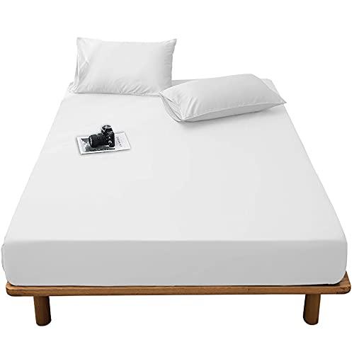 AYO ボックスシーツ マットレスカバー 洋式・和式兼用 ベッドシーツ シーツ ベッドカバ 柔らかな触感 吸汗 速乾 マチ部分約30cm 着脱簡単 通気性 丸洗い可能 快眠 (ホワイト, クイーン・160X200cm)