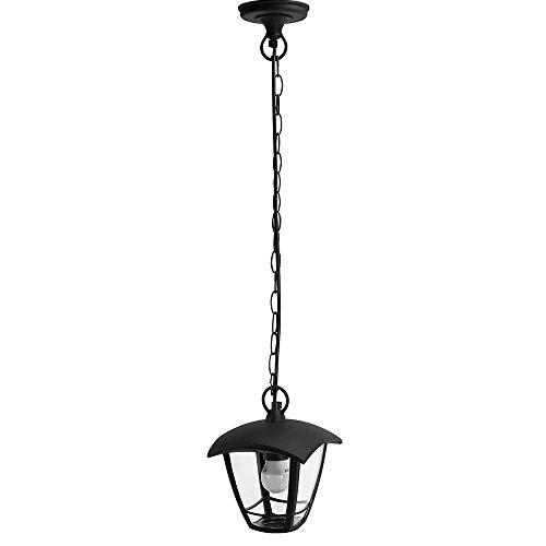 Lámpara Techo Colgantes Exterior Negro Moderno IP44 | 7hSevenOn Outdoor | Aplique Exterior Techo ideal para Jardín, Terraza, Patios | Farol Colgante Exterior