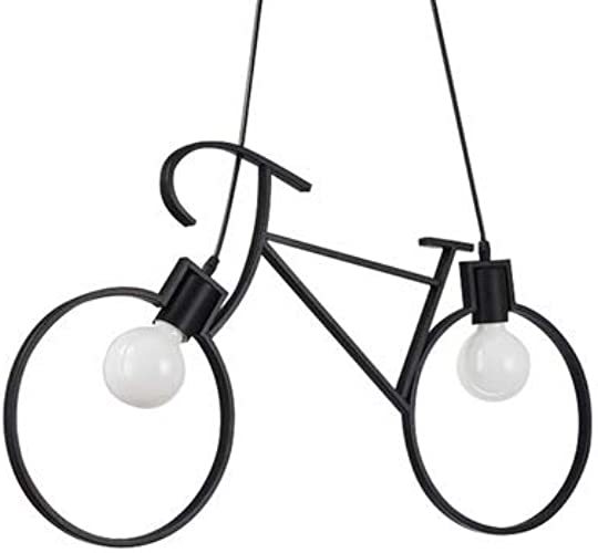 Lampe Suspension,Lustre de vélo en fer forgé créatif rétro personnalité de pays américain personnalité simple restaurant Internet café bar lampe de vélo