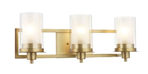Designers Impressions Juno - Applique da parete in ottone spazzolato, 3 luci, con vetro trasparente e satinato: 73487