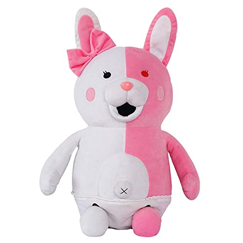 IUTOYYE Pink White Rabbit Plush Girls Youth Bunny Pillow Toy Home Decor Adornment Doll for Birthday Party (25cm)