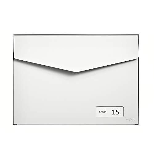 MEFA Briefkasten Letter 113 (mit Namensschild, Farbe weiß, Postkasten mit Sicherheitsschloss, Größe 312x430x178 mm) 113021DE