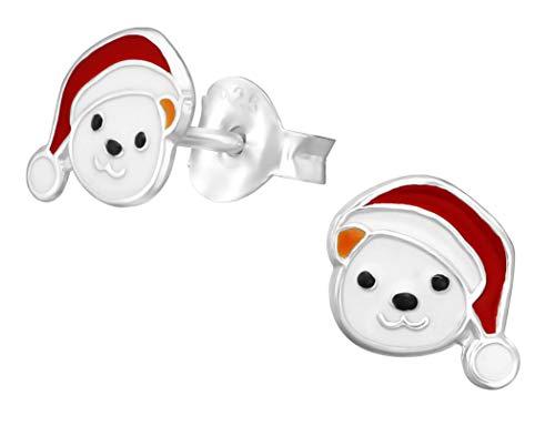 Best Wing Jewelry - Pendientes de tuerca para niños de plata de ley 925 con diseño de oso de Navidad
