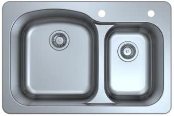 33 drop in top mount stainless steel two holes press kitchen sink 33 X 22 X 9 double bowl 70 product image