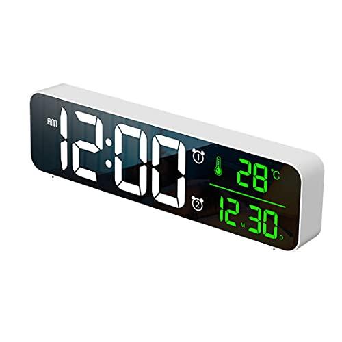 Temperatura De Reloj De Alarma Digital Con La Fecha Reloj Usb Led Mirror Widescreen Alarma Electrónica Reloj De Alarma Inicio Música Electrónica Reloj De Pared Calendario Digital Reloj D(Color:blanco)