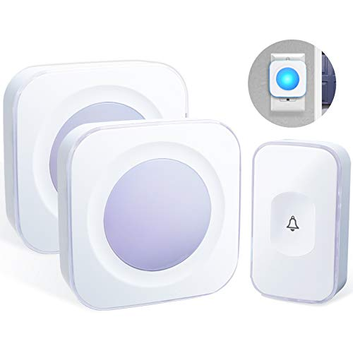 Wireless Doorbells for Home Waterproof Doorbell Chime Operating at 1000 feet with 4 Volume levels 36 Melodies Flash Light (1 Button 2 Receiver Purple and White)