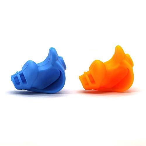 2 portalápices de escritura para niños, soporte de silicona para lápices de estudiantes, corrector visual de acuidad (azul y naranja)