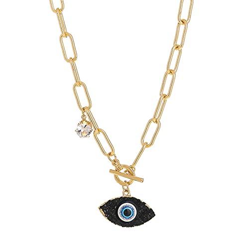 Collares de cristal de ojo de demonio Hip Hop cadena gruesa collar de collar