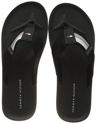 Tommy Hilfiger Herren Sporty Corporate Beach Peeptoe Sandalen, Schwarz (Black Bds), 45 EU