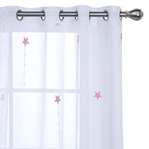 UMI Amazon Brand Cortinas Translucidas Decorativas con Motivos Lluvia de Meteoros con Ojales 2 Piezas 140x280cm Rosa