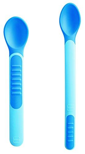 Mam hitzeempfindliche Löffel zum Füttern, mit Deckeln, blau, CU1003B