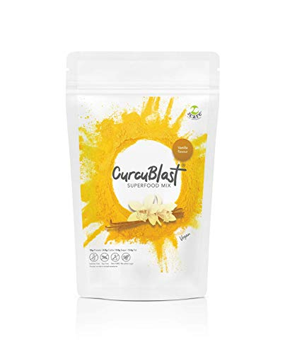 CurcuBlast - 100 Percent Vegan Protein Powder with Added Turmeric, Soy and Lactose Free, High Protein, Low Sugar, No Chalkiness or Bloating, Ideal Breakfast & Post Workout Shake - 500g (Vanilla)
