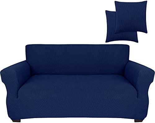 JINAMART Stretch Sofa Slipcover 1 Piece Couch Sofa Cover and 2 Throw Pillow Covers Soft Furniture Protector with Elastic Bottom & Non Skid Foam for Kids Dogs Cats Small Checks (Medium, Navy Blue)