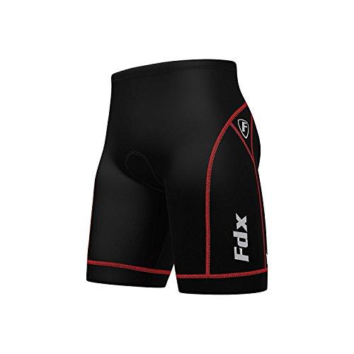 FDX Uomo qualità–Pantaloni da Ciclismo Anti BAC Imbottitura Outdoor Cycle Gear Tight Pantaloncini, FDX-990, Nero/Rosso, L