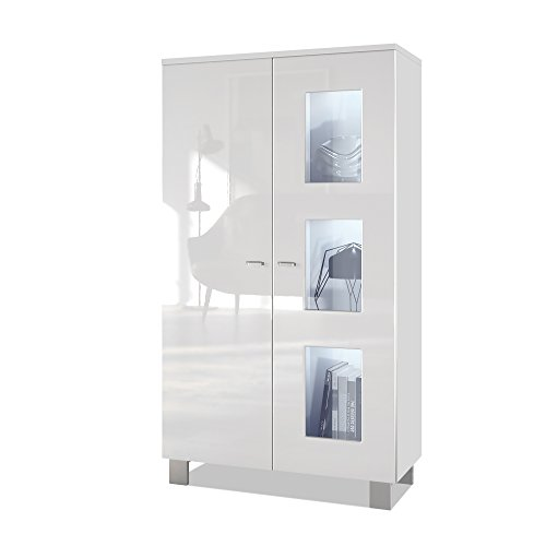Vladon Tall Display Cabinet Cupboard Denjo, Carcass in White matt/Front in White High Gloss, with LED lights in White