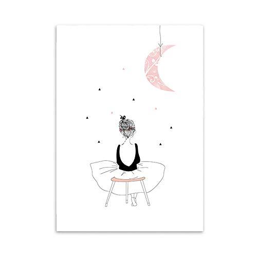 LaLe Living Hochwertiger Leinwanddruck mit süßem Mädchen unterm Mond als Motiv A4 21x30cm (ohne Rahmen) - Kunstdruck Moderne Poster Print Leinwandbild Wandbild Leinwand Plakat Deko Bild DINA4
