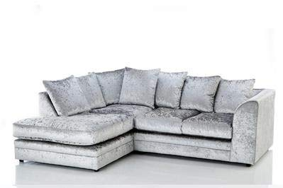 Envie Chicago Crush Velvet Corner Sofa (Black Crush Velvet, Left Hand Corner)