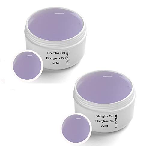 2 x 30 ml UV Fiberglas Gel Violet Premium Line Klar – Finishgel Aufbaugel Haftgel mit Gilbschutz - Top Coat - High Gloss