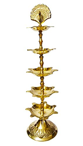 Craftsman Diwali Diwali Deepawali Dekoration, handgefertigt, indisches schweres Messing, 5 Stufen, Panchmahal Diya-Lampe, 5 in 1, Verstellbarer Durchmesser mit schönem Pfau auf der Oberseite.