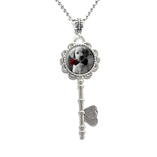 Collar de cristal con diseño de cabujones de rosas rojas y negros, colgantes de llave de perro, collar de llave de mascota, #139