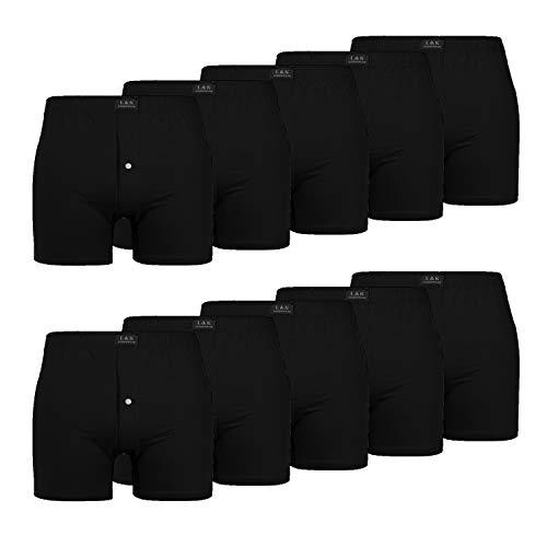 L&K 10er Pack Herren Boxershorts Atmungsaktive Unterwäsche zur Auswahl 95% Baumwolle 1408 Schwarz S
