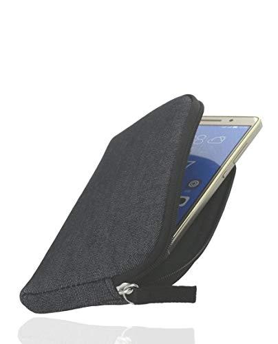 Smart Planet® Universal Handytasche für Smartphones 2XL - schwarz grau - Hülle Tasche Cover Softcase Schutzhülle Schutz Hülle 14,8 x 7,6 cm Innenmaße
