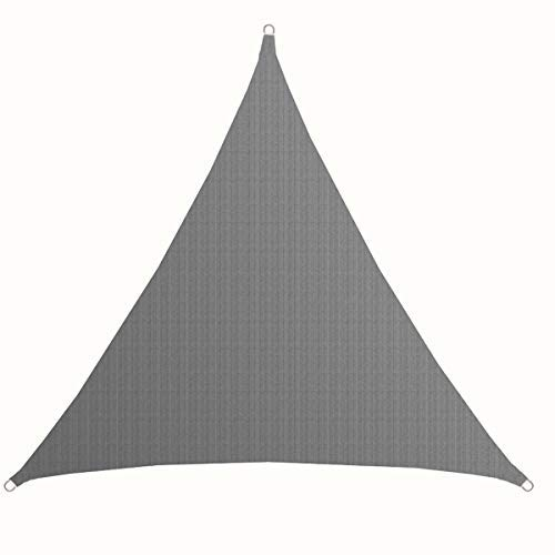 AMANKA UV Sonnensegel - 7x7x7 m HDPE Dreieck - Sonnenschutz Plane Überdachung Balkon Garten Grau
