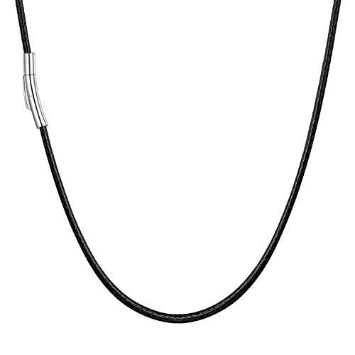 U7 Mens Black Rope Necklace Leather Cord for Jewellery Making 2mm 18 Inch Necklaces