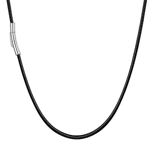 U7 Kordelkette schwarz Damen Herren Kette 50cm/2mm Kunstleder Kette mit Edelstahl Verschluss perfektes Accessoire für Anhänger Modeschmuck Geschenk für Geburtstag