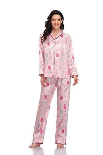 Pink Satin Pajamas for Women Button Down Pjs Pink Silk Pajamas Satin Pj Set Silky Pajama Set Long Sleeve Floral 2T pj