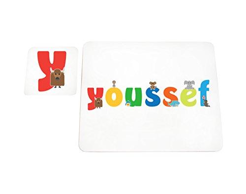 Little Helper LHV-YOUSSEF-COASTERANDPLACEMAT-15IT Dessous de verre et sets de table avec finition brillante, personnalisés pour garçons Nom Youssef, multicolore, 21 x 30 x 2 cm