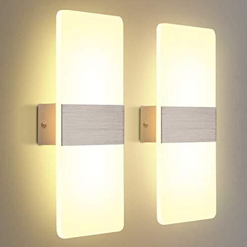 KINGSO Wandleuchte LED Innen 2er Pack 12W Wandlampe Acryl Wandbeleuchtung, Modern für Wohnzimmer Schlafzimmer Treppenhaus Flur, AC 230V, 3000K Warmweiß