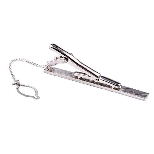 BKAUK Maenner Praktische Silber Edelstahl Tone Einfache Krawatte binden Bar Schliesse Clip Pins